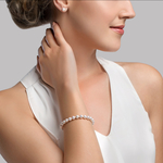 6.5-7.0mm Akoya White Pearl Bracelet- Choose Your Quality - Model Image