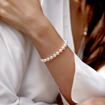7.0-7.5mm Akoya White Pearl Bracelet- Choose Your Quality - Model Image