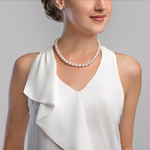 9-10mm White Freshwater Pearl Necklace - AAA Quality - Secondary Image