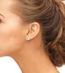 9mm White Freshwater Pearl Stud Earrings - Secondary Image