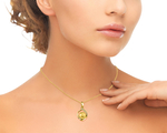 Golden Pearl & Diamond Alexis Pendant - Model Image
