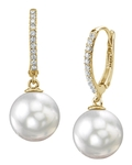 South Sea Pearl & Diamond Aurora Leverback Earrrings - Third Image