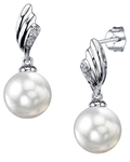 South Sea Pearl & Diamond Lily Earrings
