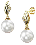 South Sea Pearl & Diamond Lily Earrings - Model Image