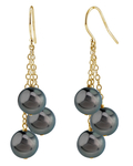 Tahitian South Sea Round Pearl Cluster Earrings - Model Image