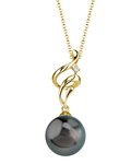 Tahitian South Sea Pearl & Diamond Aria Pendant - Secondary Image
