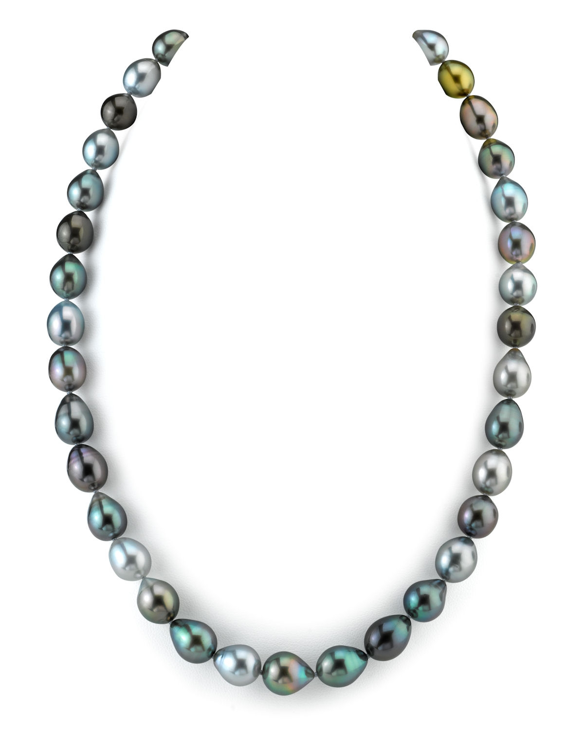 8-10mm Tahitian South Sea Multicolor Drop Pearl Necklace - AAAA Quality