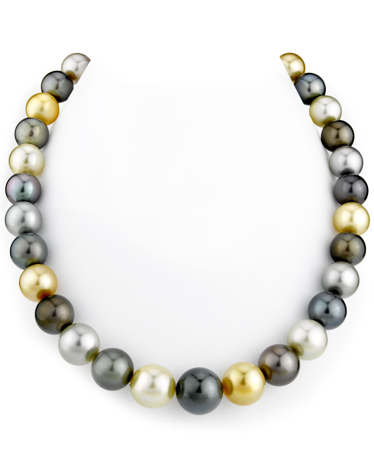 11-14mm Tahitian & Golden South Sea Multicolor Pearl Necklace