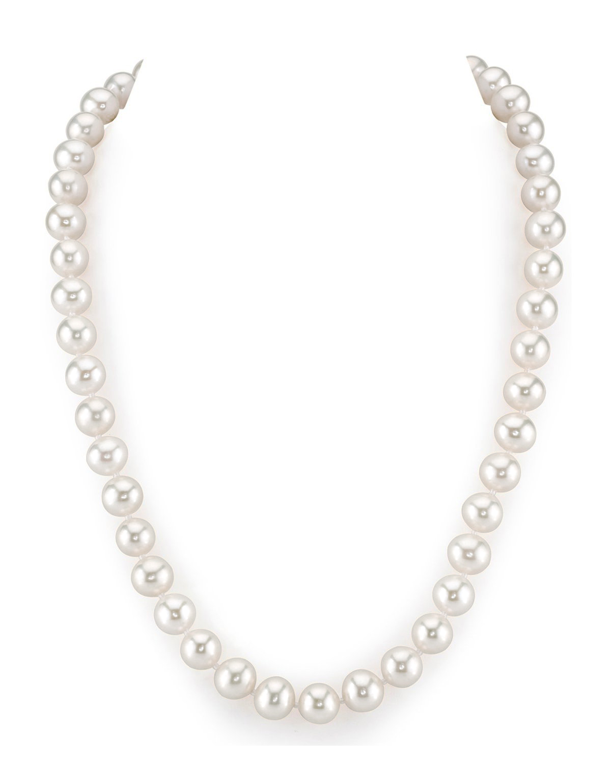 9-10mm White Freshwater Pearl Necklace - AAA Quality