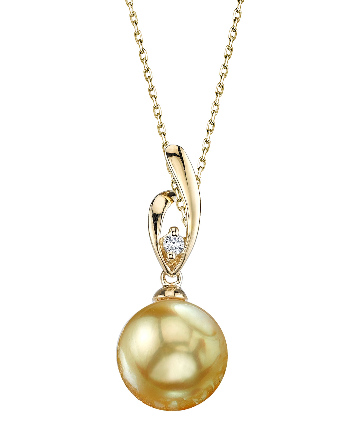 Golden Pearl & Diamond Lois Pendant