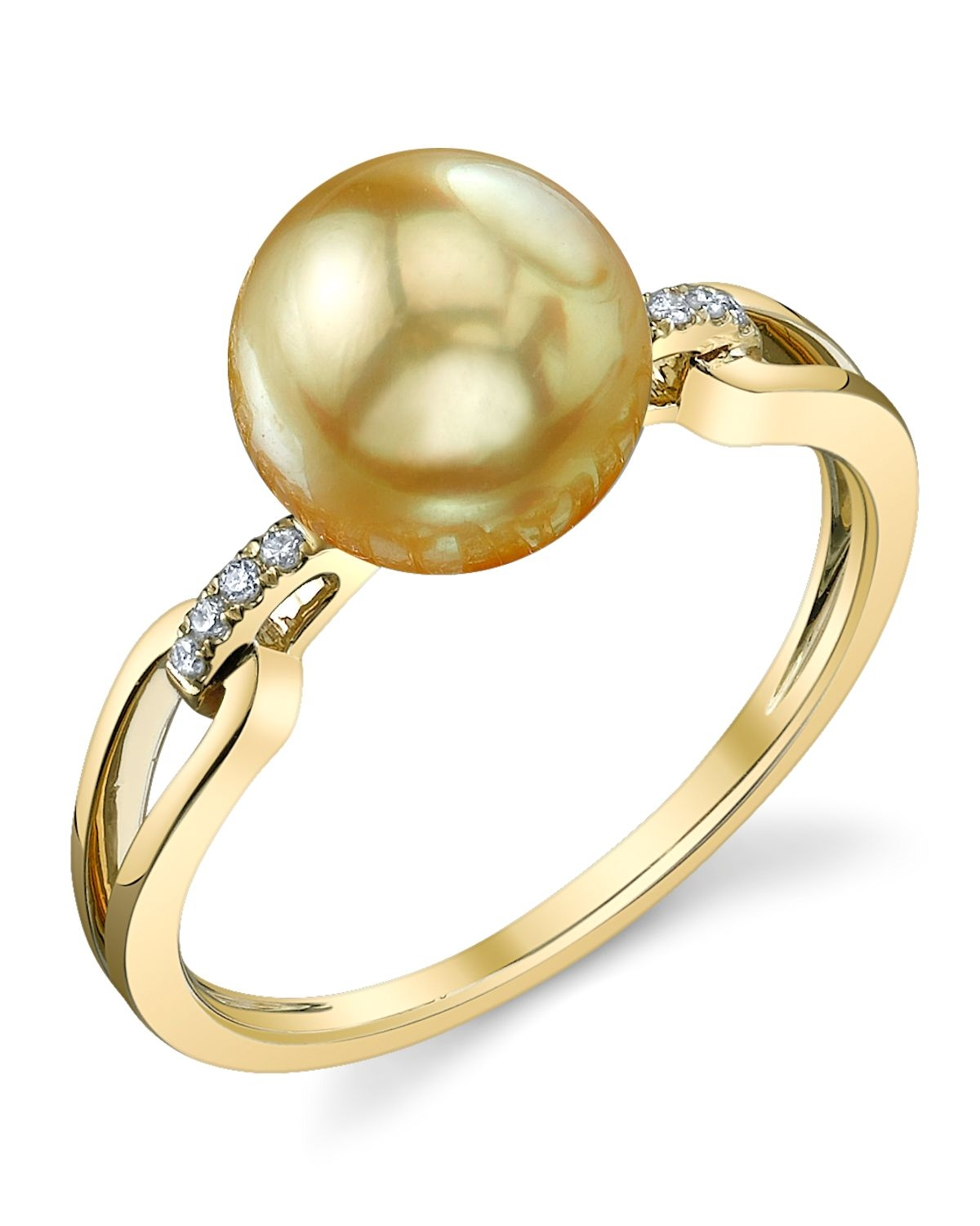 Golden Pearl & Diamond Holly Ring
