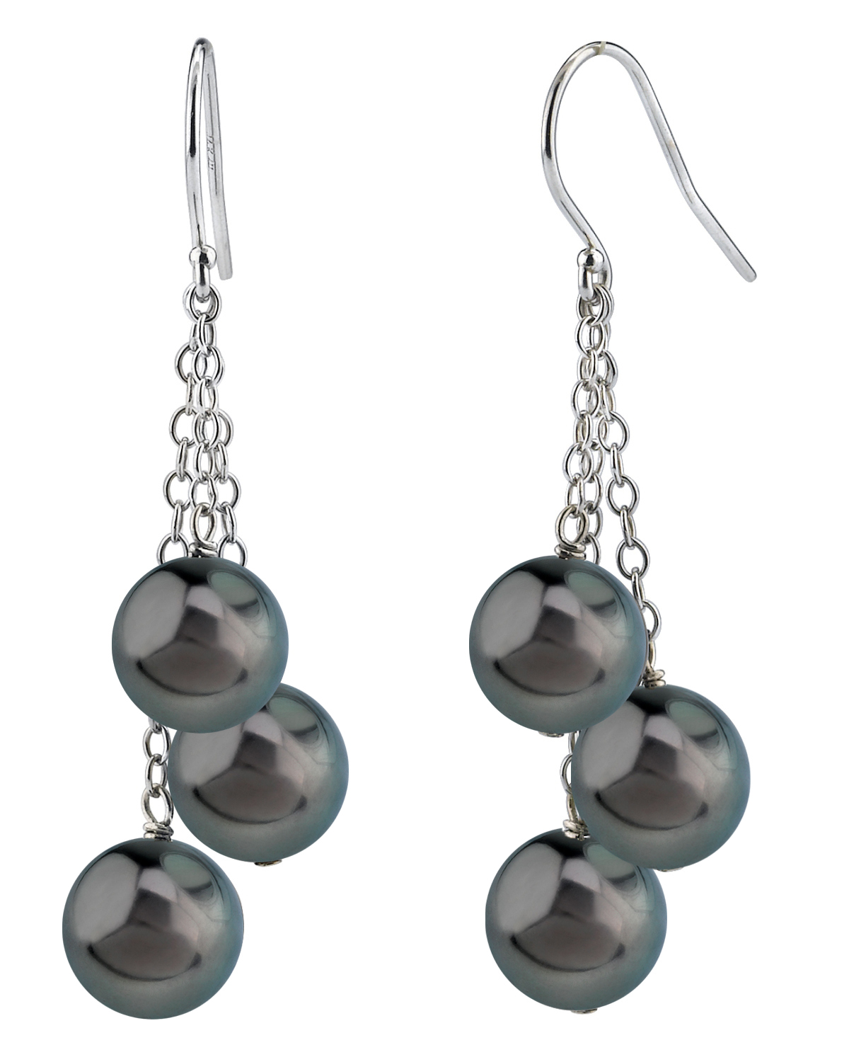 Tahitian South Sea Round Pearl Cluster Earrings